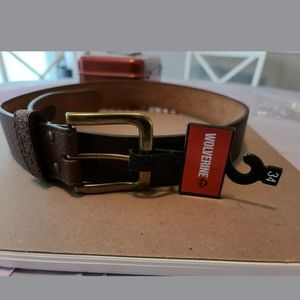 Mens Wolverine brown size 34 belt 100% leather